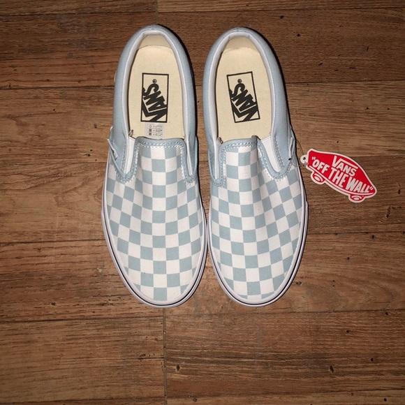 Light blue checkered vans